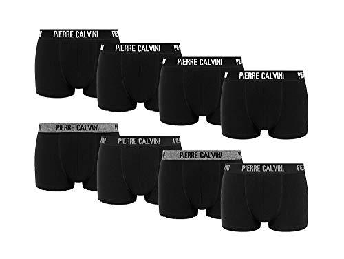 Pierre Calvini - Hipster Boxershorts, 8er Pack, Größe XL, bequeme und atmungsaktive Herren Unterwäsche, Baumwolle Unterhosen Männer in 8 Ausführungen, Basic Boxer (Schwarz, XL)