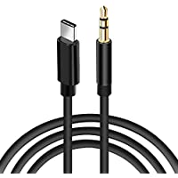 aceyoon USB C to 3.5 mm Car Aux Cable 1M 3ft USBC Male to 3.5mm Jack Male Headphone Lead Stereo Surround Type C Car Audio Adapter Compatible for Google Pixel 2, Moto Z, Huawei Mate 10/20, HTC U11