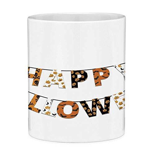 feetasse mit Zitat Halloween 11 Unzen Lustige Kaffeetasse Happy Halloween Banner Grüße Kürbisse Schädel Cross Bones Fledermäuse Wimpel Dekorative Orange Schwarz Weiß ()