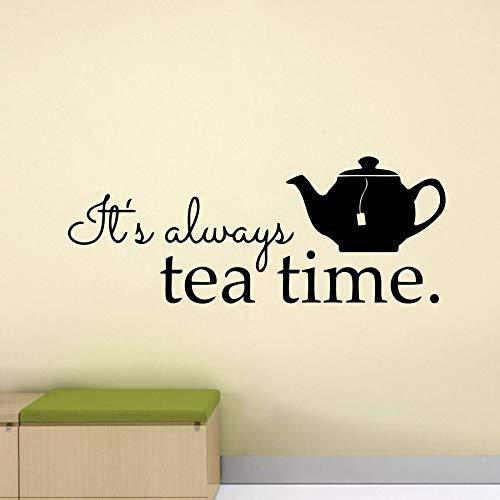 Es ist immer Tee Zeit Wandtattoo Poster Esszimmer Zitat Teekanne Küche 70 * 30 cm