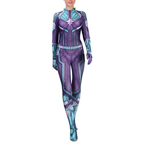 NDHSH Überraschungskapitän Avengers Kostüm Womens Jumpsuit Onesies Lycra Erwachsene Halloween Christmas Party Performance Geschenk,Green(Child)-L