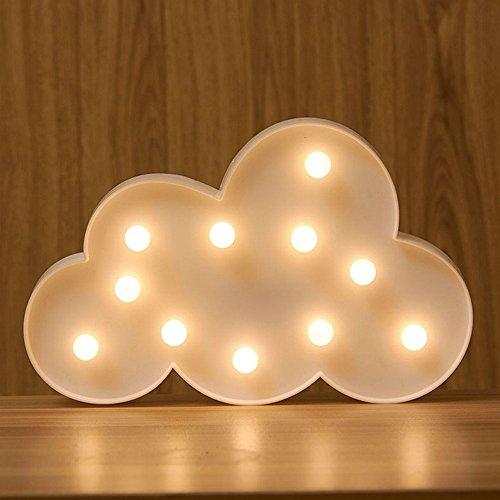 Buchstaben-Zeichen, EONANT Dekorative Up in Lights Kunststoff Warm White Lights mit batteriebetriebenen LED-Leuchten, Cloud-Symbol (Weiß)