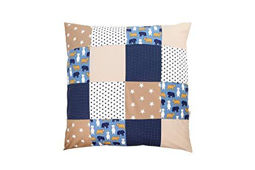 ULLENBOOM ® Baby Bettdeckenbezug 80x80 Sand Bär (auch als Kinderwagendecke, Stubenwagen Decke oder Dekokissen geeignet, Motiv: Sterne, Patchwork)