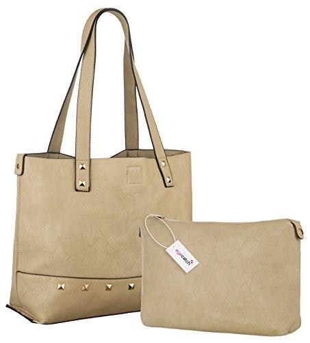 Eyecatch - Damen Kinsley Leder Frauen Handtaschen Beige