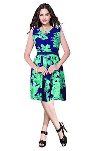 shubham creation women\'s green& Blue floral Printed Western Short Kurti chikan crap dress material