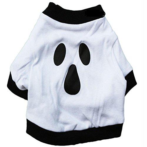 Hundekleidung Weihnachten Baumwollhund Kostüm Weiß Halloween Ghost Design Haustierhemd (L)