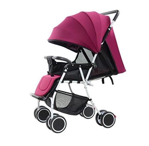 HJXJXJX Leichter Baby Trolley, kann in einem tragbaren faltbaren High-Profile Baby Carriage sitzen , wine red