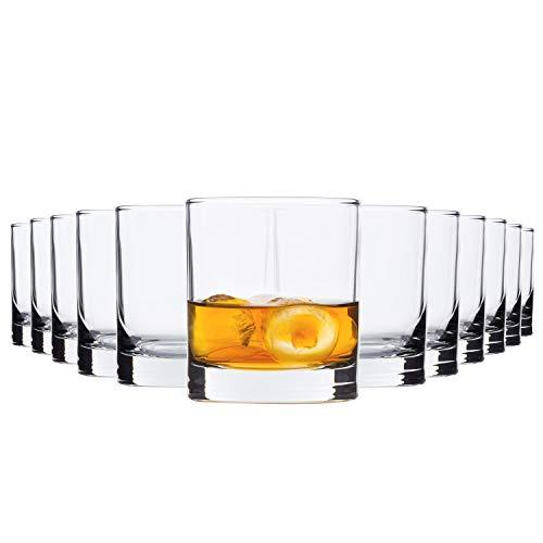 Bormioli Rocco | 12-TLG. Gläserset Whisky-Becher Cortina | 405 ml | Whiskey Tumbler | Cocktail-Glas | Partygläser | Soft-Drinks | Gastro-Qualität Soft-drink-glas