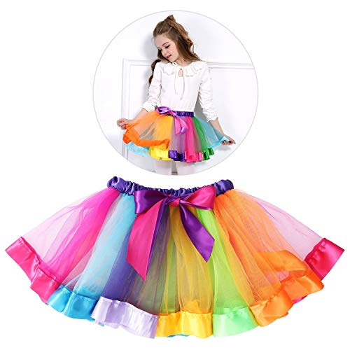 Tinksky Girls Rainbow Tutu Skirt Costume Layered Ruffle Tiered Dance  Performance Dress for Girls 7- 7cfe639c0fe