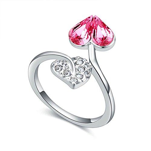 KnSam Damen Ring Vergoldet Trauring Vergoldet Doppel Herz mit Zirkonia Größe 53 (16.9) bis 57 (18.1) 8