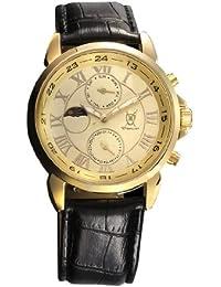 Reloj Dorado de Hombre, con Números Romanos, Display Día-Fecha y Día-Noche y Correa Negra de Piel de Konigswerk AQ202468G