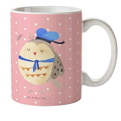 Mr. & Mrs. Panda Tasse, Kaffeetasse, Kindertasse Eule Matrosen - Farbe Rot Pastell