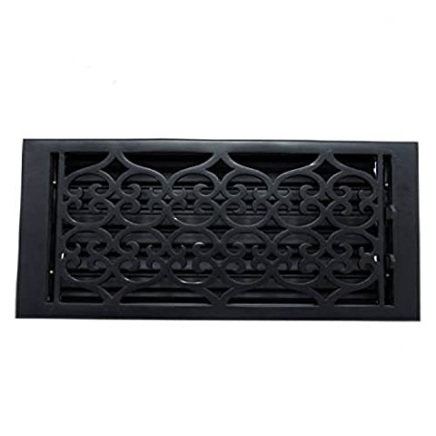 Adonai Hardware Flower Cast Iron Wall Register with Louver - 6