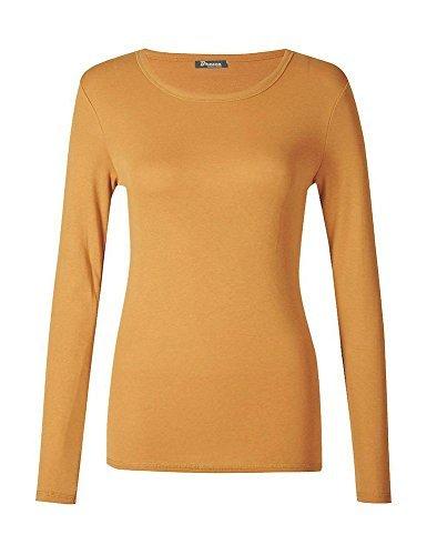 haute for DIVA NEUF pour dames femmes uni col rond manches longues haut t-shirt UK 8-24 Moutarde