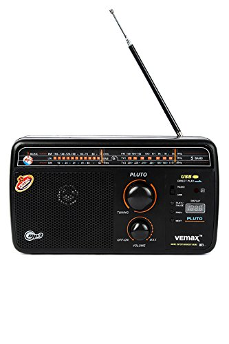 Vemax Pluto 5-Band (FM/AM/MW/TV1/TV2) USB Portable Radio With Remote & Charger (Black)