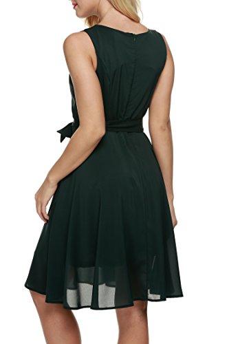 ZEARO Mode Elégante Robe Plissée De Cocktail A-ligne Sans Manches Tailles Haute Avec Ceinture Femme D'été Casual/Soirée Vert foncé