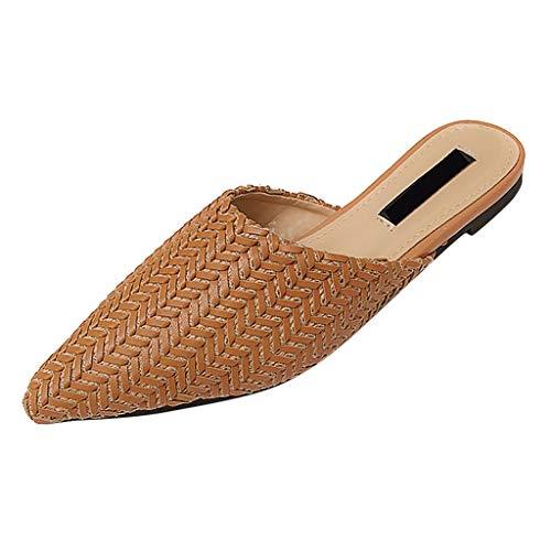 SHE.White Damen Sandalen Geflochtene Geschlossene Zehe Hausschuhe Sommers Outdoorschuhe Sandaletten Slipper Flach Römische Sommerschuhe