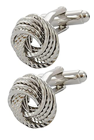 COLLAR AND CUFFS LONDON - PREMIUM High Quality Cufflinks WITH PRESENTATION GIFT BOX - Four Strand Friendship Knot - Silver Colour - Twist Feature Reflects Light Beautifully