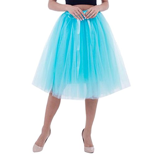 Femmes Tutu Ballet Jupe, 25,6 pouces en couches Organza dentelle Bubble Puffy une ligne courte et Maxi longueur Tulle princesse Petticoat pour la robe de bal de bal Bleu ciel
