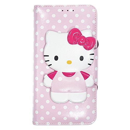 WiLLBee Galaxy S9Plus Case Süße Hello Kitty Tagebuch Wallet Flip Synthetisches Leder/Stoßdämpfung/Trageriemen im lieferumfang [Samsung Galaxy S9Plus] Cover, Button Body Baby Pink (Galaxy S9 Plus)