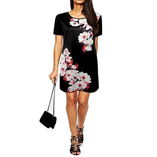 robe femme, Transer ® Mode féminine robes à manches courtes imprimé Floral autour de cou robe courte Noir