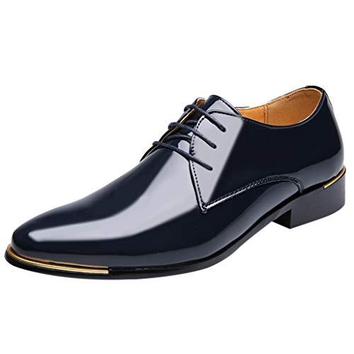FNKDOR Schuhe Herren Geschäft Lackleder Spitz Lederschuhe Formelle Kleidung Berufsschuhe Schnürsenkel Freizeit Business-Schuhe Kleid Schuhe Blau 40 EU -