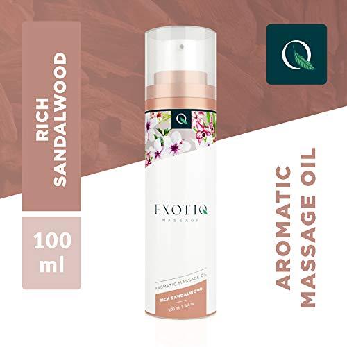 Exotiq Aromatisches Massageöl Reiches Sandelholz (100 ml) - Ideal für eine Sinnliche Massage - Erhebender Effekt auf die Emotionen; Sandelholz-Duft, Würzig, Handliche Dosierpumpe - Sandelholz Duftenden Duft-Öl