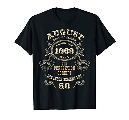 50. Geburtstag Männer Frauen 50 Jahre Jahrgang 1969 August T-Shirt - 50 Jahre T-shirt