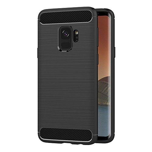 Coque Samsung Galaxy S9, AICEK Noir Silicone Coque pour Samsung S9 Housse Fibre de Carbone Etui Case (5,8 Pouces)