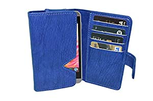 TOTTA PU Leather Wallet Pouch with Card Holder Celkon Millennium Glory Q5 (Blue)
