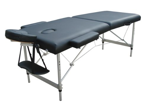 Massage Aluminium Lightweight Professional Black 2-Section Portable Massage Table Couch Bed Spa Isis