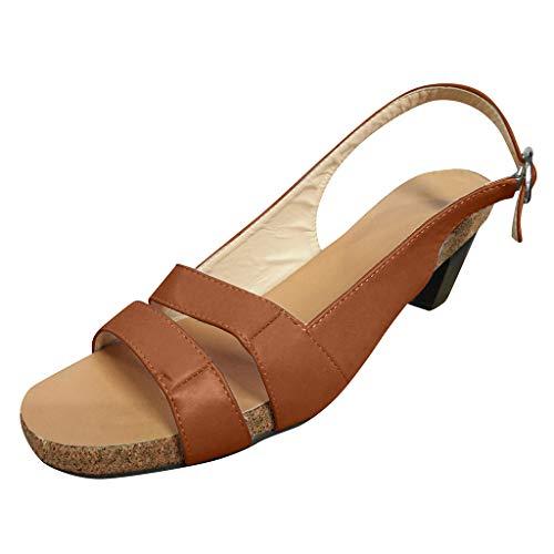 ┃BYEEEt┃ Scarpe con Tacco Basso Sandali Donna estive Eleganti Scarpe Vintage Roma Traspirante Peep Toe Sandali Spiaggia Scarpe Casual Leggere