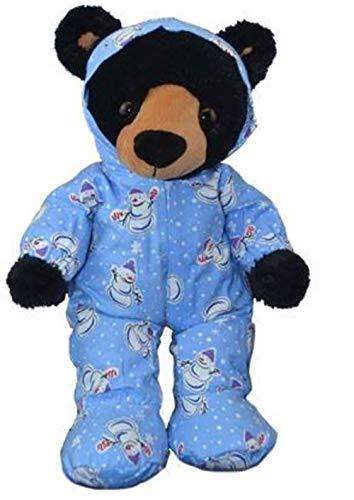 Stuffems Toy Shop Blaue Snowman Hoodie Footie PJ Teddybär Kleidung paßt die meist 14