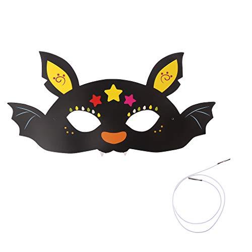 SLYlive Halloween-Cartoon-Muster Papier mysteriöse Augenmaske - Fledermaus