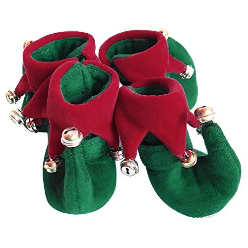 (Protective Dog Boots Set von 4 Hundeschuhe forPet Hundeschuhe Halloween Christmas Show Clown Schuhe Anti-Rutsch-Sohlen Small Bells)