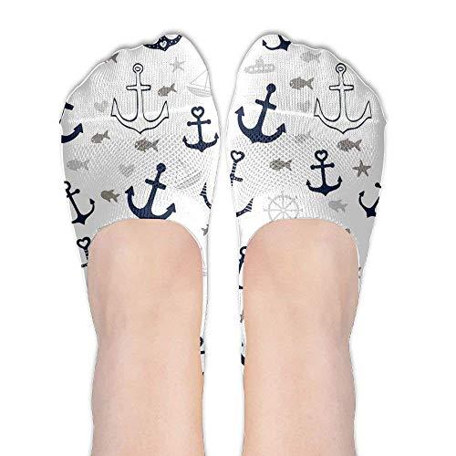 Fedso Weiße Multi Anchor Damen-Socken, niedlich, lustig, Cartoon-Tier-Motiv