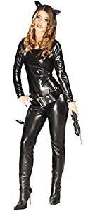 femme sexy noir catsuit super héros méchant halloween chat BD COSTUME DÉGUISEMENT UK 10-12