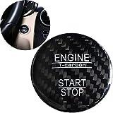 FancyAuto en Fibre de Carbone Car Styling Bouton démarrer Autocollant Auto Voiture décoratifs Aceessories pour Mercedes-Benz Newa/B/C/E Class GLC GLE, Noir
