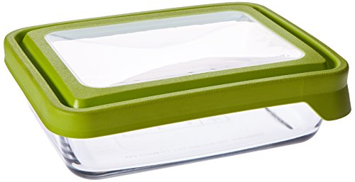 Anchor Hocking 6-Cup Rectangular Food Storage Containers with Green TrueSeal Airtight Lids, Set of 4 by Anchor Hocking (Hocking-set Anchor)