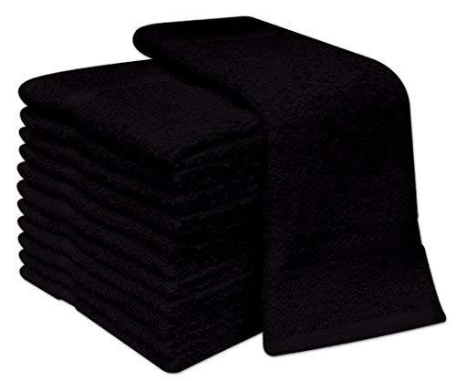 12Stück Deluxe-Gesichtstücher, 100% Baumwolle Gesichtswaschlappen 30x 30cm, 100 % Baumwolle, schwarz, 12.00