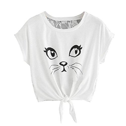 Yanhoo Damen Sommer T-Shirts Große Größe Frauen Casual Kurzarm Rundhals Cat Print Bud Seide Bluse Blusen Tops Mode Damenmode Coole Streetwear (S, Weiß)