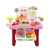 smartcraft Luxury Supermarket Shop -Pink, Candy Sweet Shopping Cart, Ice Cream Role Play Set Toy for Kids