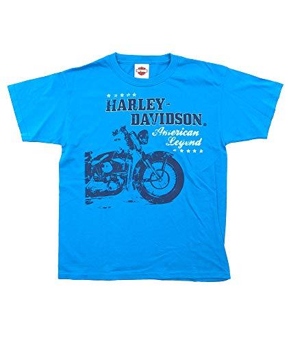 HARLEY-DAVIDSON Original HD Jugend T-Shirt für Biker - American Legend T-Shirt Nachwuchs Harley Fahrer - hellblau, Größe:XL