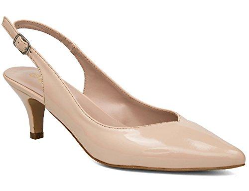 MaxMuxun Damen Klassische Slingback Schnalle Sandalen Elegant High Heel Pumps Lack Nude Größe 39 EU