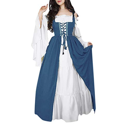 Damen Mittelalter Party Kostüme Kleid, Rovinci Vintage Mittelalterliche Kleid Lace up Ballkleid mit Trompetenärmel Gothic Prinzessin Renaissance Partykleid Maxikleid Cosplay Kostüm Bodenlänge (Einfach Zu Machen Cosplay Kostüm)