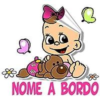 STICKEREDO Bimbo bimba bebè a bordo adesivo auto macchina personalizzato con qualsiasi nome colorato PER ESTERNO