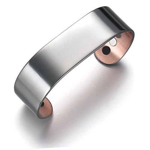 Kupferspange wide-Line Armspange Ionen Germanium - Kupfer-Magnetarmband mit Germanium und Ionen Inserts - sehr stylisch, sehr edel, sehr schön. Sie können den Magnetarmreif den ganzen Tag und wenn Sie es wünschen auch nachts tragen !, Größen:M/L - 19cm;Farbe:schwarz