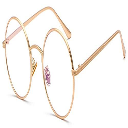 Frauen Sonnenbrillen Mit Roten Linsen Runden Metallrahmen Vintage Retro-Brille Sonne For Männer Unisex-Geburtstagsgeschenke (Color : Gold with clear)