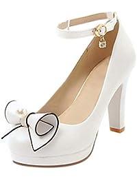 Coolulu Mujer Zapatos de Tacón Alto con Plataforma Tira al Tobillo con  Hebilla Calzado Casual con 9f8700cf7af3
