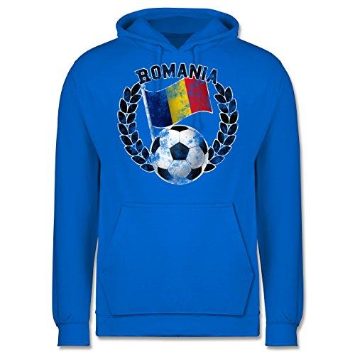 EM 2016 - Frankreich - Romania Flagge & Fußball Vintage - Männer Premium Kapuzenpullover / Hoodie Himmelblau